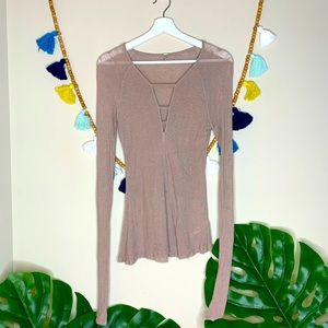 Free People Intimately Lace Up Tan Sheer Top